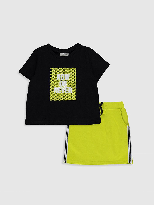 Yeşil Kız Çocuk Pamuklu Tişört ve Etek 0SO626Z4 LC Waikiki
