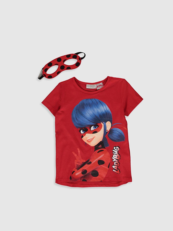 Kırmızı Kız Çocuk Miraculous Pamuklu Tişört ve Maske 0SO713Z4 LC Waikiki
