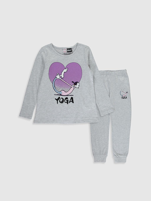 Gri Kız Çocuk Safinaz Baskılı Pijama Takımı 0SA130Z4 LC Waikiki