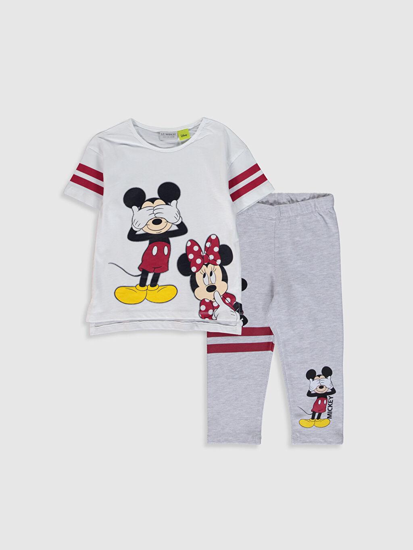 Beyaz Kız Çocuk Minnie Mickey Baskılı Tişört ve Tayt 0SA236Z4 LC Waikiki
