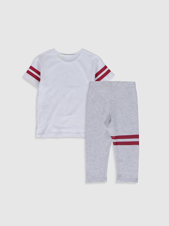 %100 Pamuk  Kız Çocuk Minnie Mickey Baskılı Tişört ve Tayt