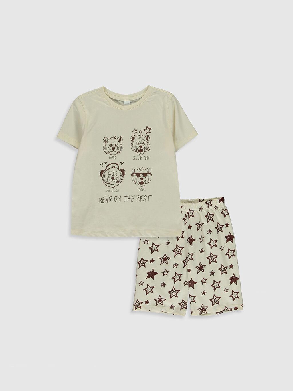 Ekru Erkek Çocuk Baskılı Pamuklu Pijama Takımı 0SB275Z4 LC Waikiki