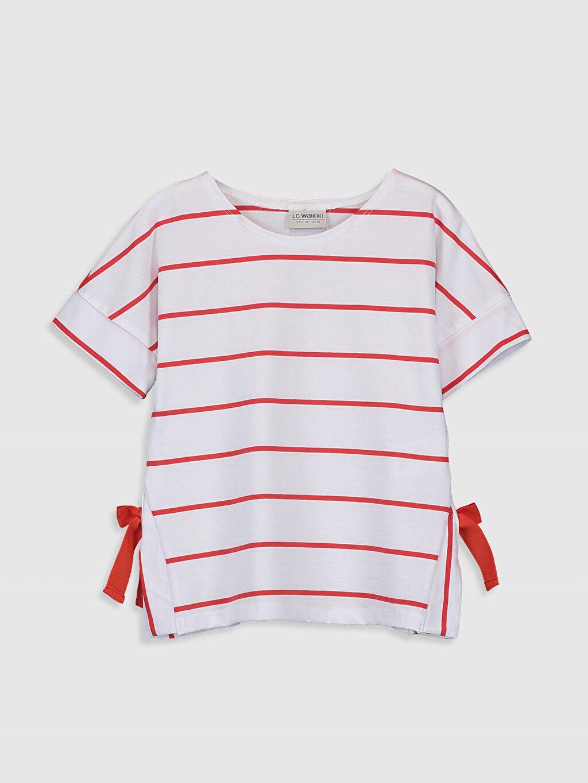 Kırmızı Kız Çocuk Çizgili Pamuklu Tişört 0SC622Z4 LC Waikiki