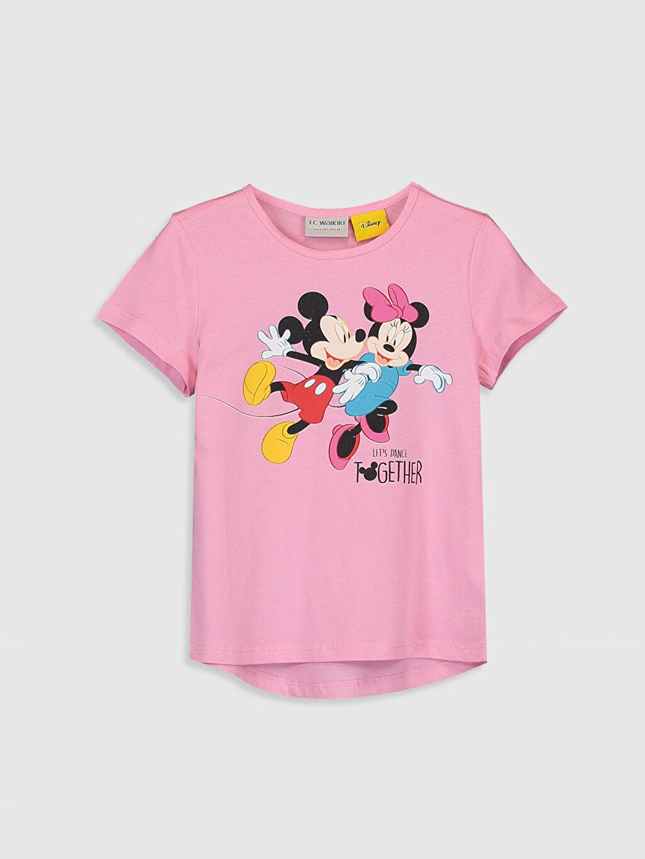 Pembe Kız Çocuk Minnie Mickey Mouse Pamuklu Tişört 0SC851Z4 LC Waikiki