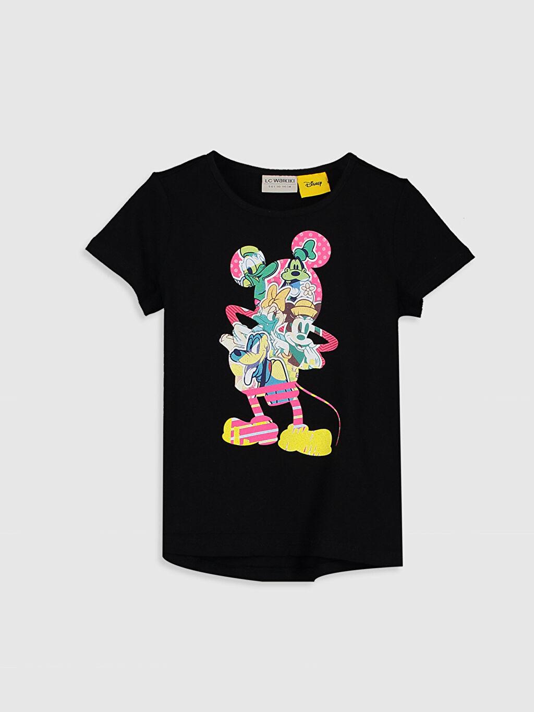 Siyah Kız Çocuk Mickey Mouse Baskılı Pamuklu Tişört 0SC852Z4 LC Waikiki