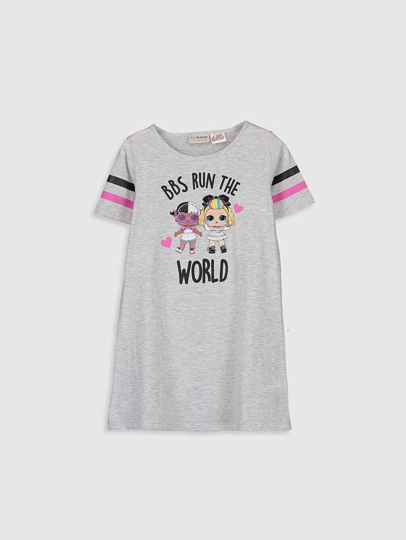 Gri Kız Çocuk Lol Bebek Baskılı Elbise 0SC993Z4 LC Waikiki
