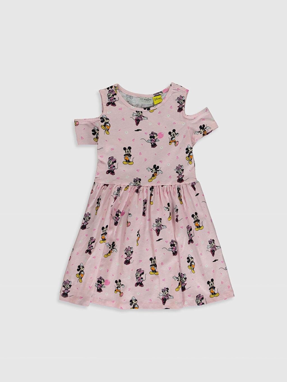 Pembe Kız Çocuk Minnie Mickey Mouse Baskılı Elbise 0SD004Z4 LC Waikiki