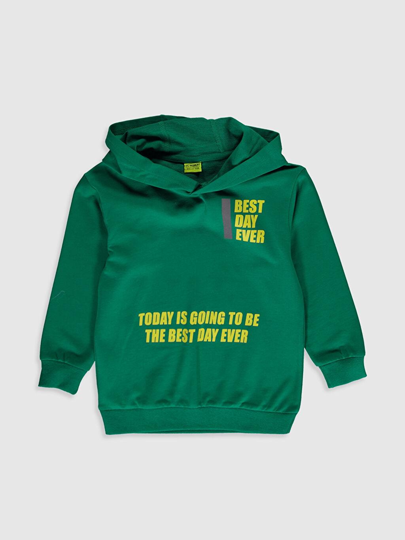 Yeşil Erkek Çocuk Baskılı Kapüşonlu Sweatshirt 0SE205Z4 LC Waikiki
