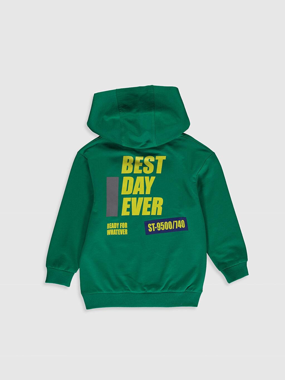 %87 Pamuk %13 Polyester  Erkek Çocuk Baskılı Kapüşonlu Sweatshirt