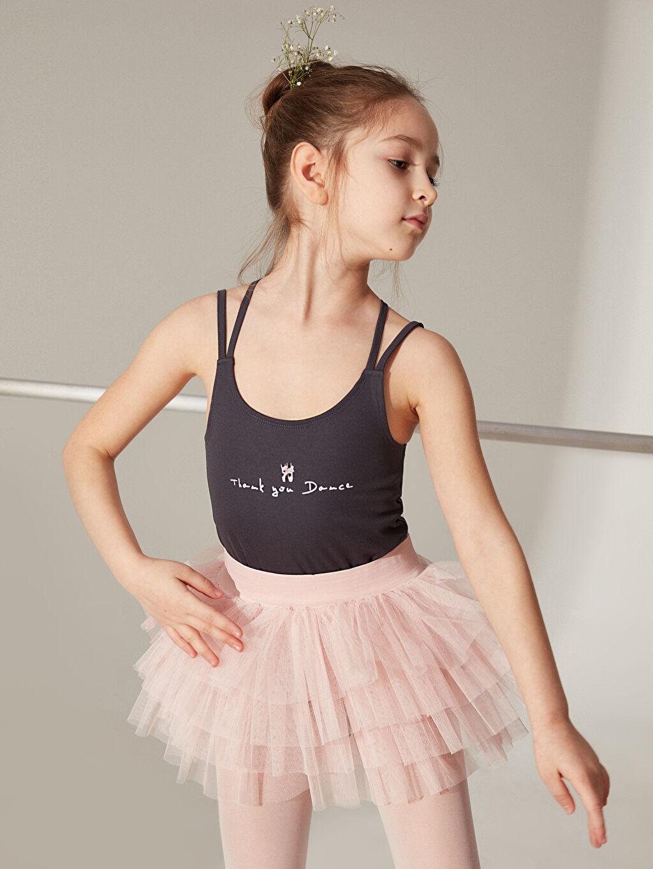 %100 Polyester Kız Çocuk Baskılı Çıtçıtlı Bodysuit