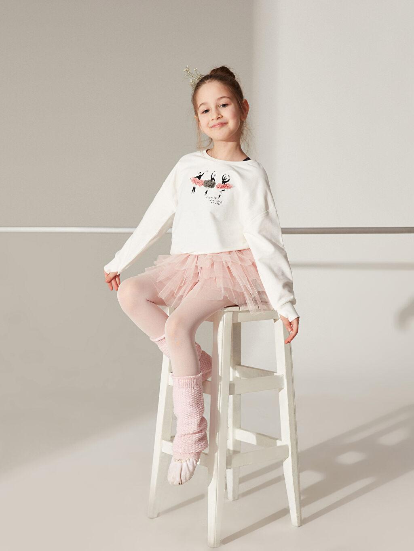 Kız Çocuk Kız Çocuk Desenli Kalın Sweatshirt