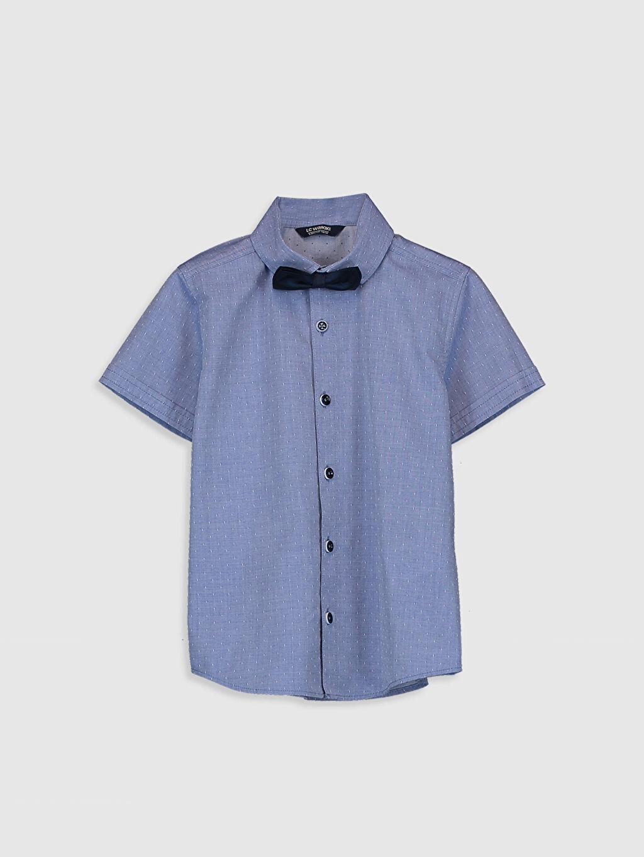 Mavi Erkek Çocuk Armürlü Gömlek ve Papyon 0SE826Z4 LC Waikiki