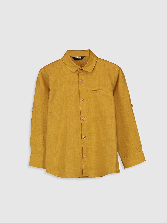 Sarı Erkek Çocuk Uzun Kollu Pamuklu Gömlek 0SE831Z4 LC Waikiki