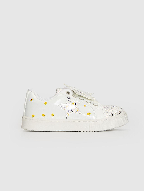 Bej Kız Çocuk Yıldız Aplikeli Günlük Spor Ayakkabı 0SF160Z4 LC Waikiki
