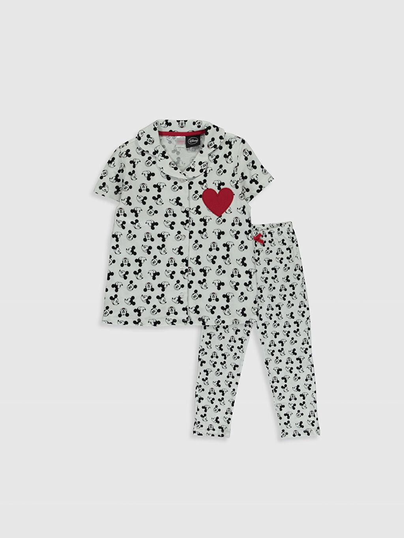 Beyaz Kız Çocuk Mickey Mouse Baskılı Pijama Takımı 0SP287Z4 LC Waikiki