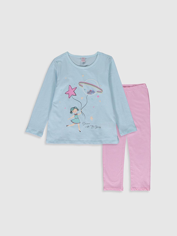 Mavi Kız Çocuk Baskılı Pamuklu Pijama Takımı 0SQ181Z4 LC Waikiki