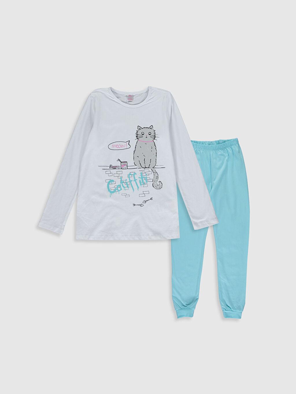 Beyaz Kız Çocuk Baskılı Pamuklu Pijama Takımı 0SQ184Z4 LC Waikiki