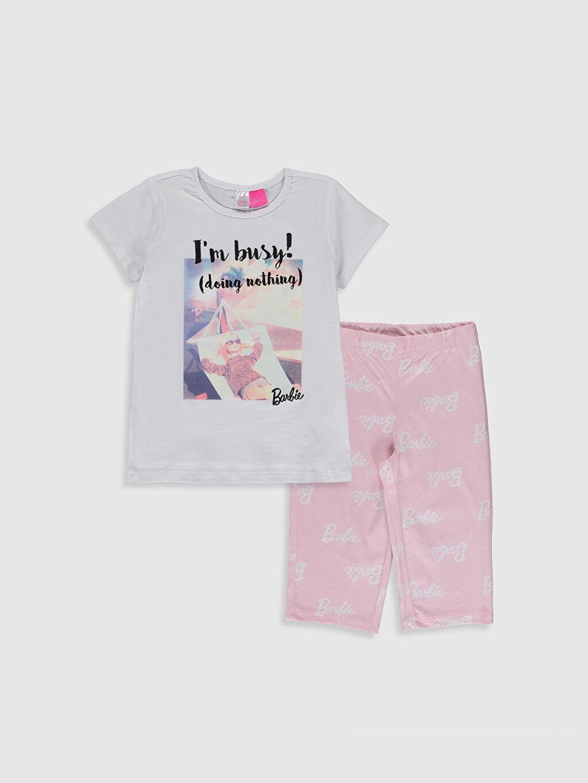 Beyaz Kız Çocuk Barbie Baskılı Pamuklu Pijama Takımı 0SR135Z4 LC Waikiki