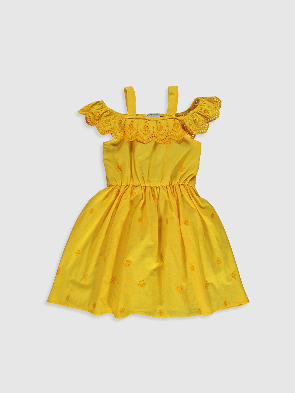 Sarı Kız Çocuk Fistolu Poplin Elbise 0SS109Z4 LC Waikiki