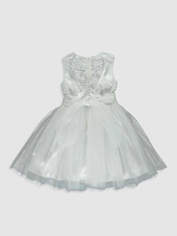 %100 Polyester %100 Pamuk Diz Üstü Düz Kız Çocuk Dantel Detaylı Tüllü Elbise