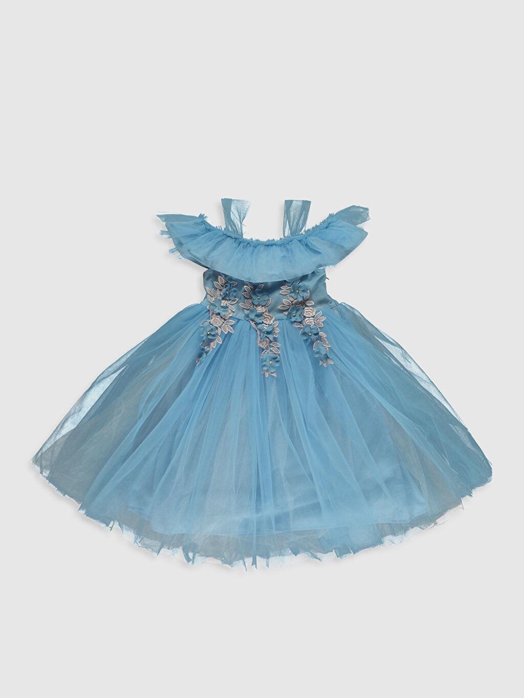 Mavi Kız Çocuk Çiçek Aplikeli Tütü Elbise 0SS115Z4 LC Waikiki