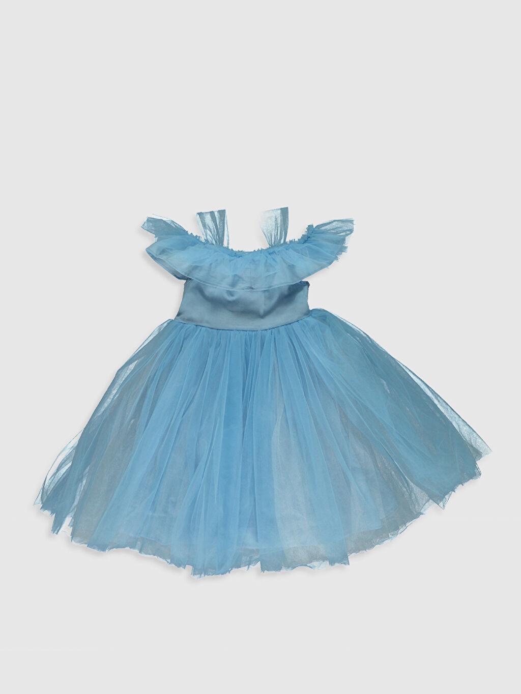 %100 Polyester %100 Pamuk Diz Üstü Düz Kız Çocuk Çiçek Aplikeli Tütü Elbise