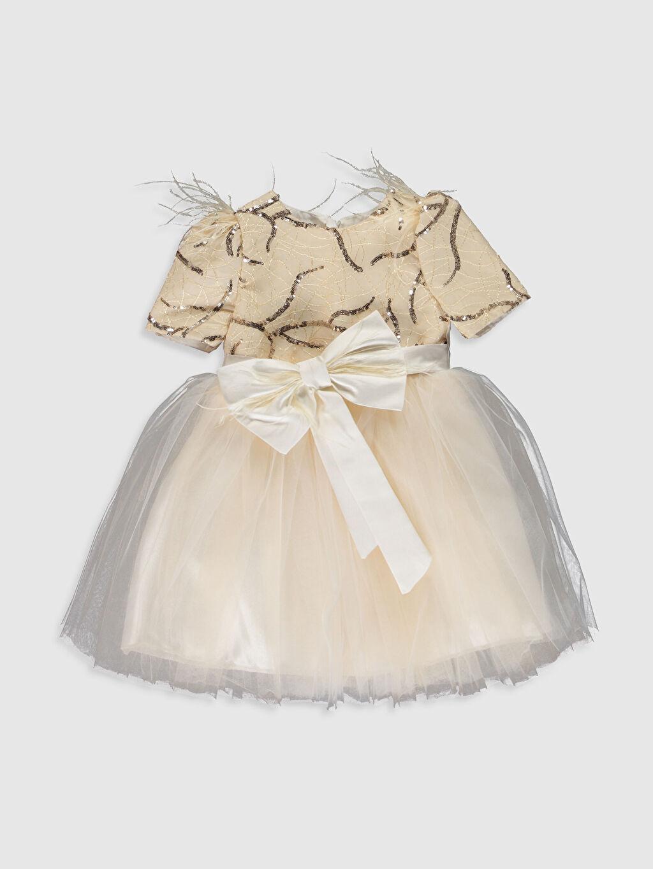 Kahverengi Daisy Girl Kız Bebek Desenli Abiye Elbise 0SS868Z4 LC Waikiki
