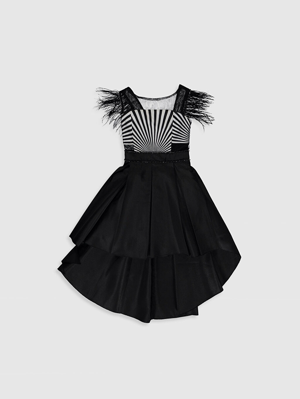 Siyah Daisy Girl Kız Çocuk Kolları Tüylü Abiye Elbise 0SS892Z4 LC Waikiki