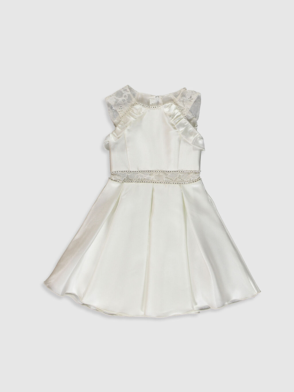 Ekru Daisy Girl Kız Çocuk Dantel Detaylı Abiye Elbise 0SS929Z4 LC Waikiki
