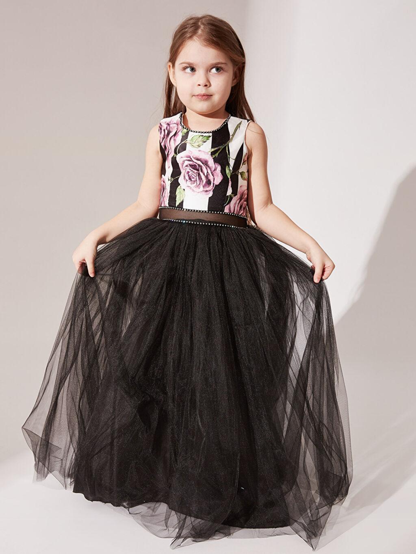 Daisy Girl Kız Çocuk Çiçek Desenli Abiye Elbise