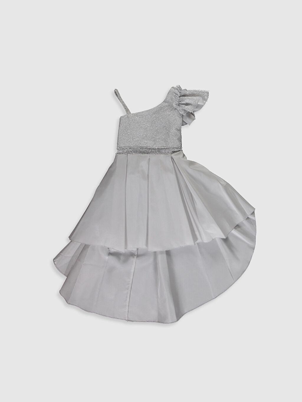 Gri Daisy Girl Kız Çocuk Omuz Detaylı Kuyruklu Abiye Elbise 0SS937Z4 LC Waikiki