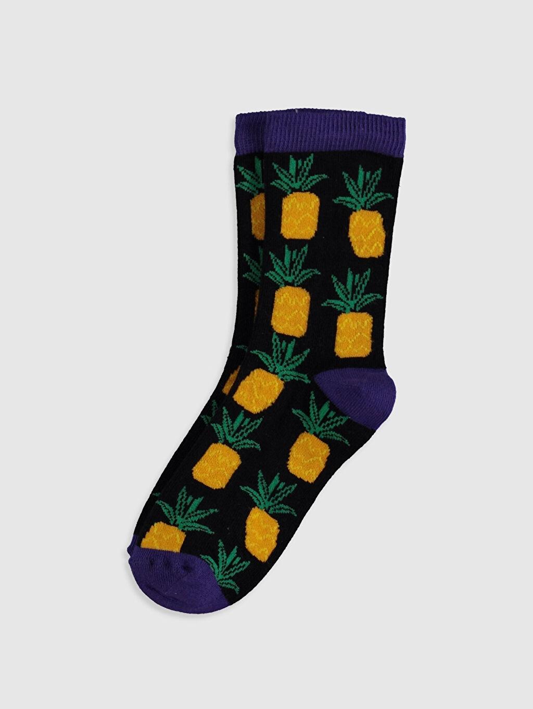 Çok Renkli Erkek Çocuk Ananas Desenli Soket Çorap 0ST221Z4 LC Waikiki
