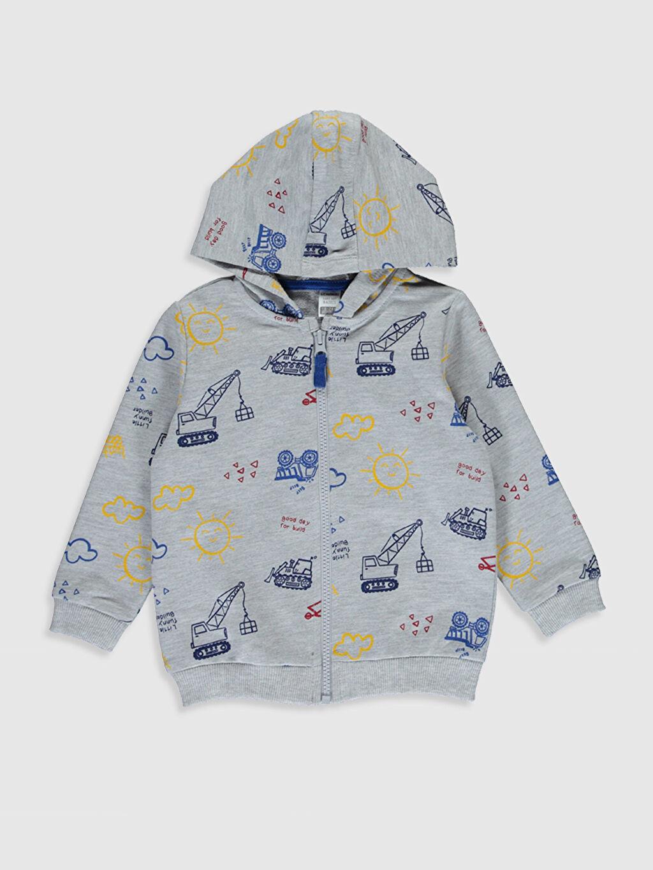 Lacivert Erkek Bebek Desenli Fermuarlı Sweatshirt 0S0334Z1 LC Waikiki