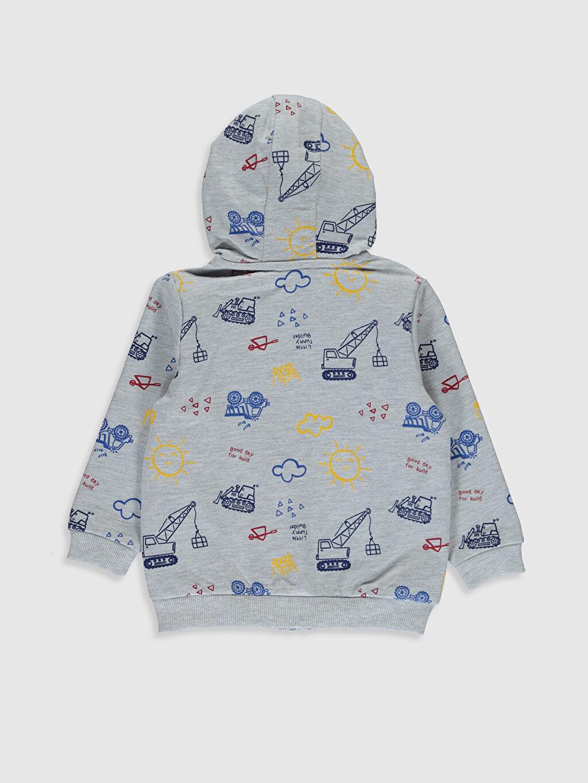 %50 Pamuk %50 Polyester  Erkek Bebek Desenli Fermuarlı Sweatshirt