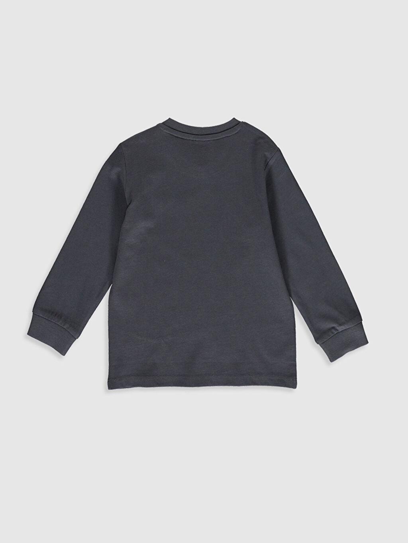 %100 Pamuk Normal Baskılı Uzun Kol Tişört Bisiklet Yaka Erkek Bebek Yazı Baskılı Pamuklu Tişört