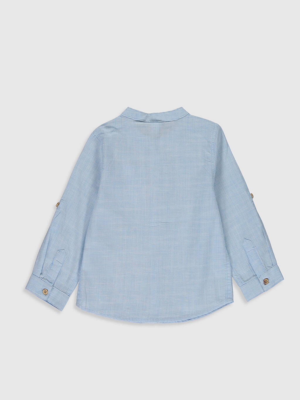 %100 Pamuk Standart Uzun Kol Düz Erkek Bebek Basic Poplin Gömlek