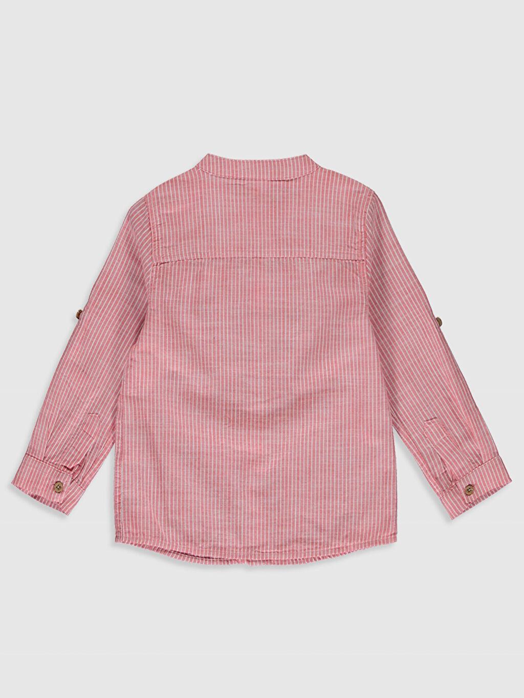 %100 Pamuk Standart Uzun Kol Çizgili Erkek Bebek Çizgili Poplin Gömlek
