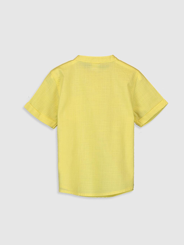%100 Pamuk Standart Kısa Kol Düz Erkek Bebek Poplin Gömlek