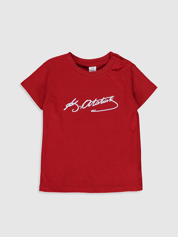 Kırmızı Erkek Bebek Atatürk İmzalı Pamuklu Tişört  0S0709Z1 LC Waikiki