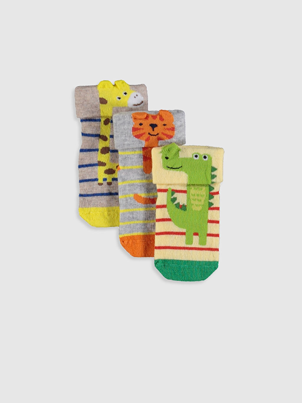 Çok Renkli Erkek Bebek Desenli Soket Çorap 3'lü 0S0990Z1 LC Waikiki