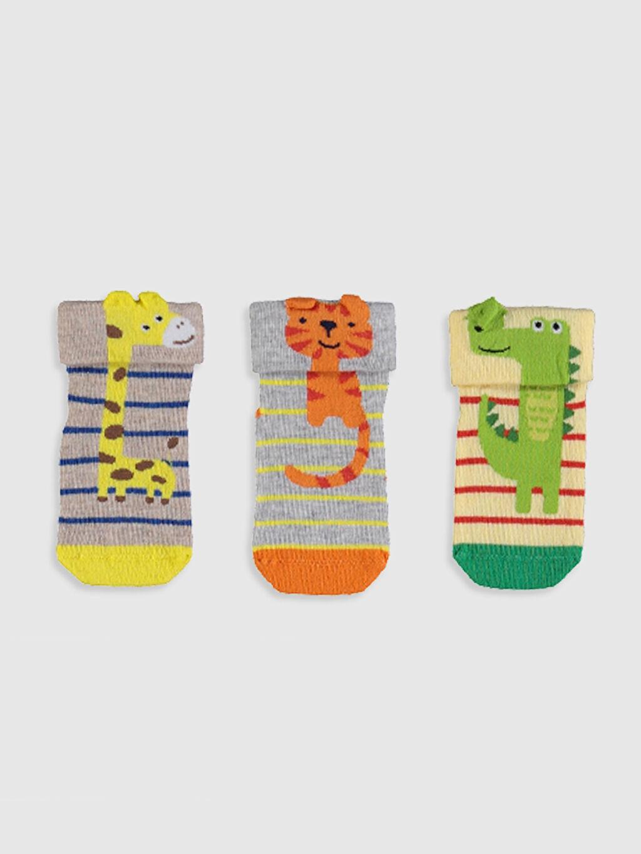 %59 Pamuk %39 Poliamid %2 Elastan  Erkek Bebek Desenli Soket Çorap 3'lü