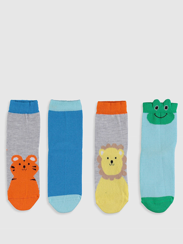 %63 Pamuk %16 Polyester %19 Poliamid %2 Elastan  Erkek Bebek Soket Çorap 4'lü