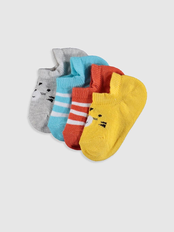 Çok Renkli Erkek Bebek Desenli Patik Çorap 4'lü 0S1002Z1 LC Waikiki