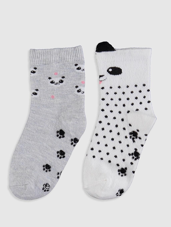 %70 Pamuk %28 Poliamid %2 Elastan  Kız Bebek Baskılı Soket Çorap 2'li