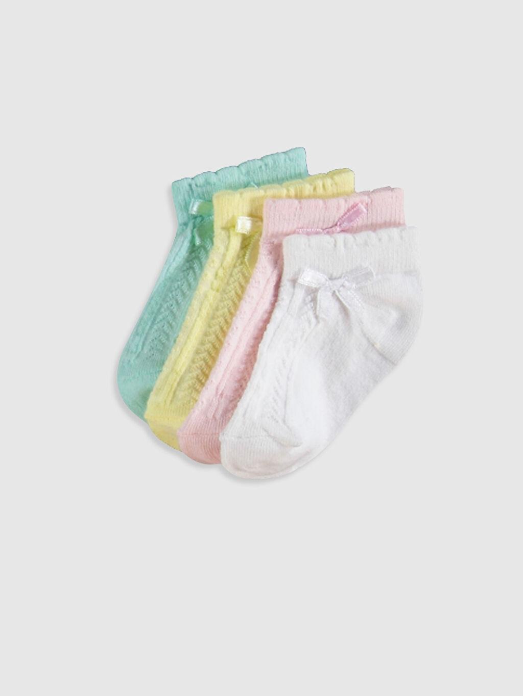 Beyaz Kız Bebek Soket Çorap 4'lü 0S1036Z1 LC Waikiki
