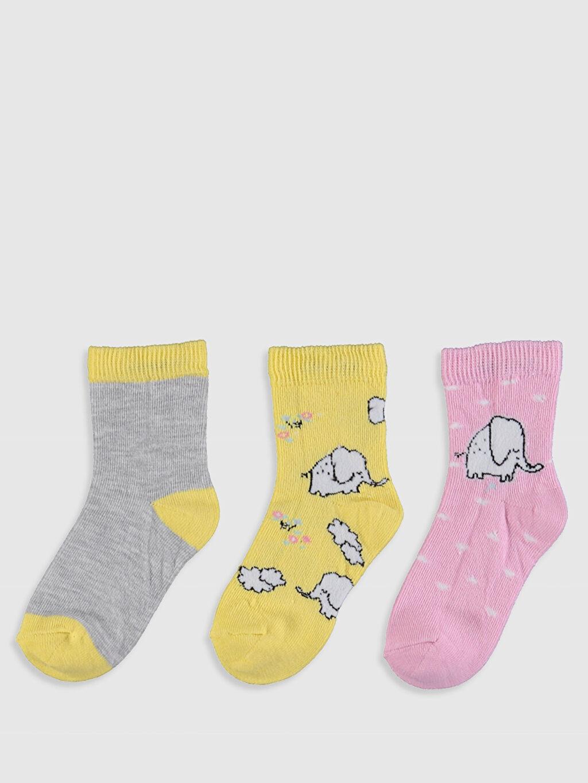 %61 Pamuk %19 Polyester %18 Poliamid %2 Elastan  Kız Bebek Soket Çorap 3'lü