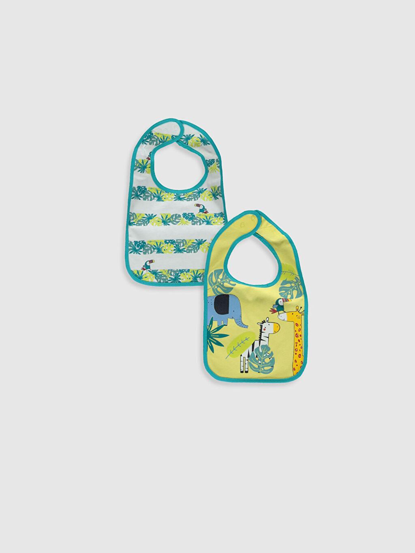 Sarı Erkek Bebek Desenli Mama Önlüğü 2'li 0S1143Z1 LC Waikiki