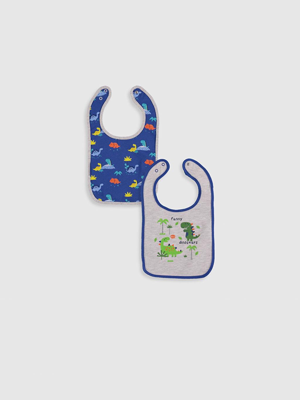 %50 Pamuk %50 Polyester  Erkek Bebek Baskılı Mama Önlüğü 2'li