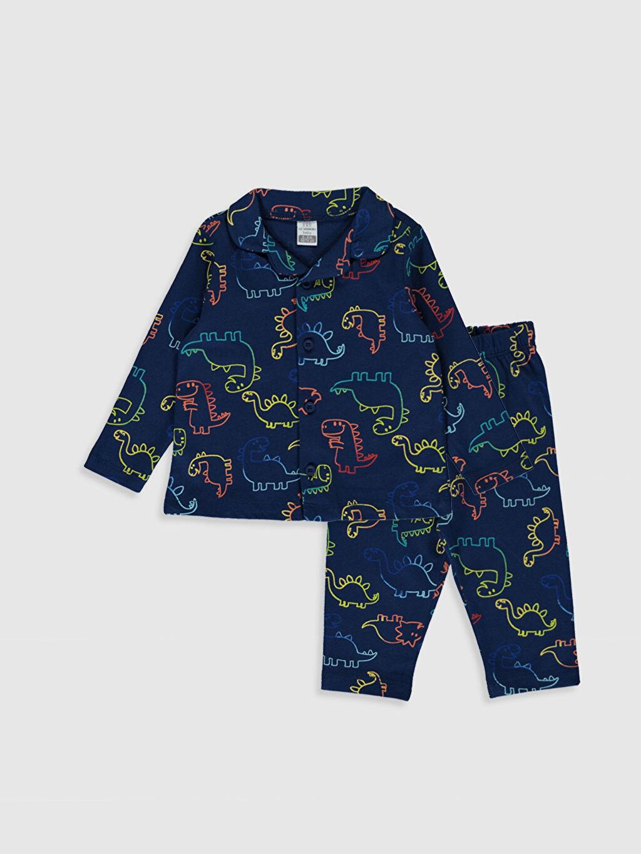 Lacivert Erkek Bebek Desenli Pamuklu Pijama Takımı 0S1294Z1 LC Waikiki