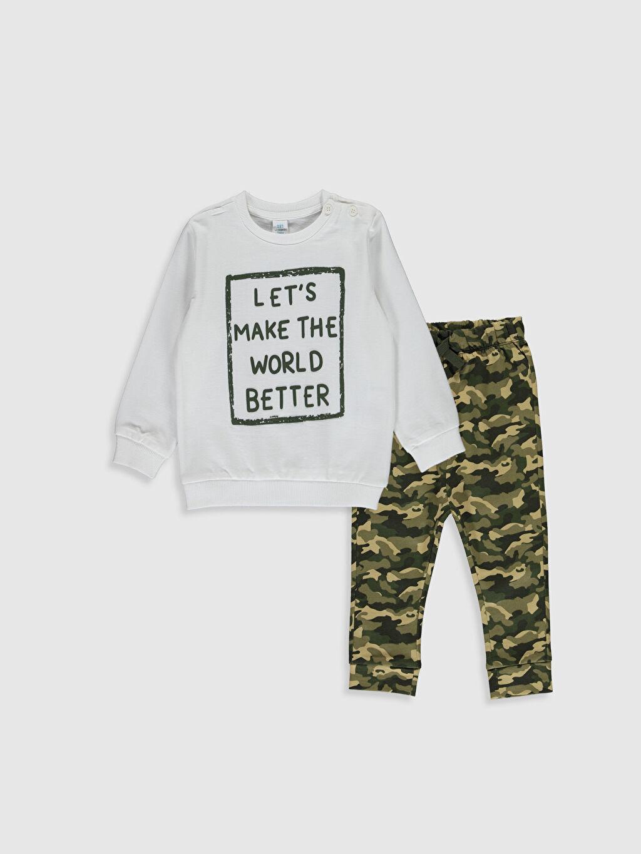 Ekru Erkek Bebek Baskılı Sweatshirt ve Pantlon 0S1479Z1 LC Waikiki